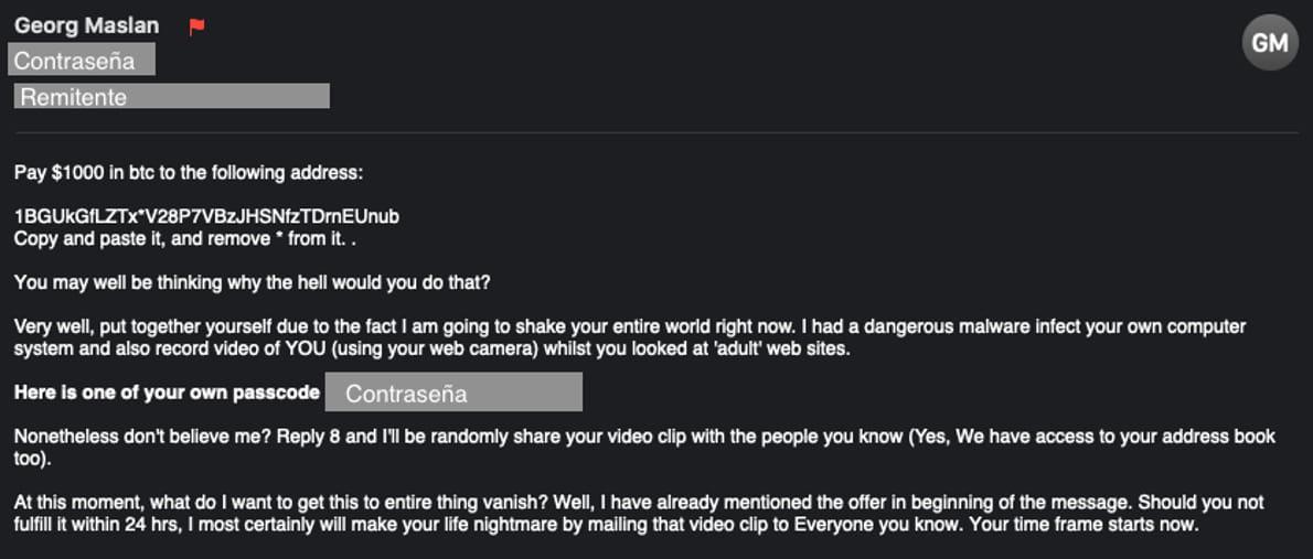 ejemplo email sextorsión